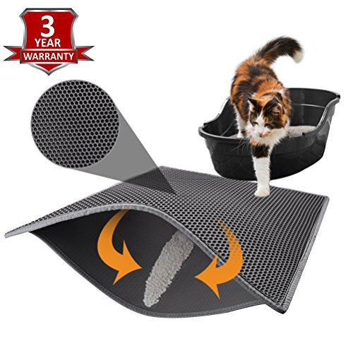 "Litter Trapper Mat - Pieviev Cat Litter Mat Litter Trapping Pads of Jumbo Size 30"" X 24"" Honeycomb Double Layer Waterproof Urine Proof Mat for Hooded/Furniture/Enclosure Litter Box Pan, Easy Clean Floor Carpet (Grey)"
