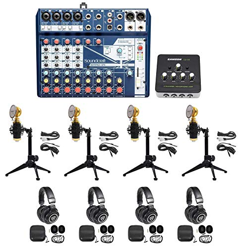 Soundcraft 4-Person Podcast Podcasting Recording Kit w/Mics+Headphones+Tripods