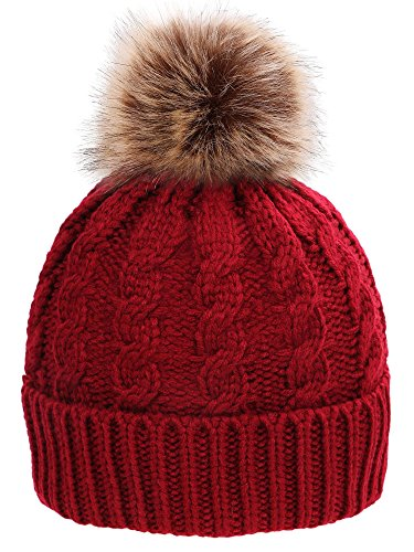 Simplicity Men / Women's Winter Handcraft Knit Faux Fur Pom Beanie Hat (Hand Knit Beanie Hat)