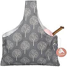 Knitting Tote Bag Yarn Storage Organizer for Small Projects (Gray Tree)