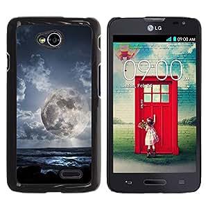 Be Good Phone Accessory // Dura Cáscara cubierta Protectora Caso Carcasa Funda de Protección para LG Optimus L70 / LS620 / D325 / MS323 // Alien Planet World Moon Close View Sky Blue