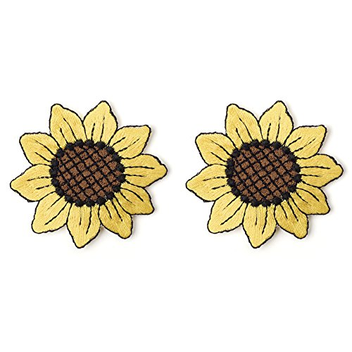 XUNHUI Sunflower Patch Embroidery Iron On Patch For Clothing Craft Small Yellow Flower Cute Repair Stciker for Dress Hat Bags 2 pieces
