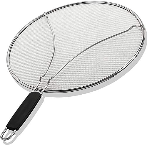 Grease Splatter Guard, Oil Splatter Screen 13″ Stain Steel Mesh Silicone Insulated Handle for Cooking Skillet Frying Pan