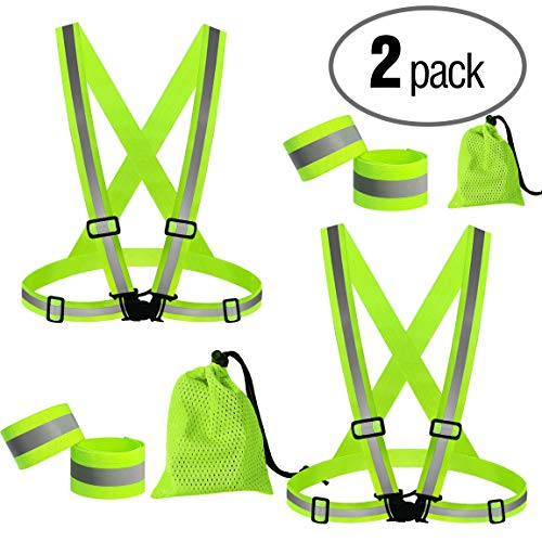 PeerBasics, 2 Pack Runner Safety Vest with Mesh Bag and Adjustable Bands, Lime Reflective High Visibility, Hi Vis Silver Strip, Men & Women, Work, Cycling, Running (Lime Elastic, 2)