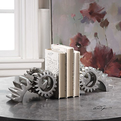The Bookends Gears Silver Bookends Set of 2