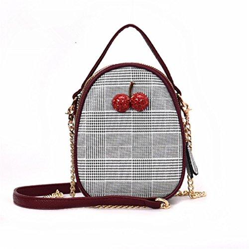 kaoling Bolsos Mini Bolsos Mujer Bolsos de Crossbody de la cereza para las mujeres Bolsos y bolsos del enrejado del diamante Brown Red