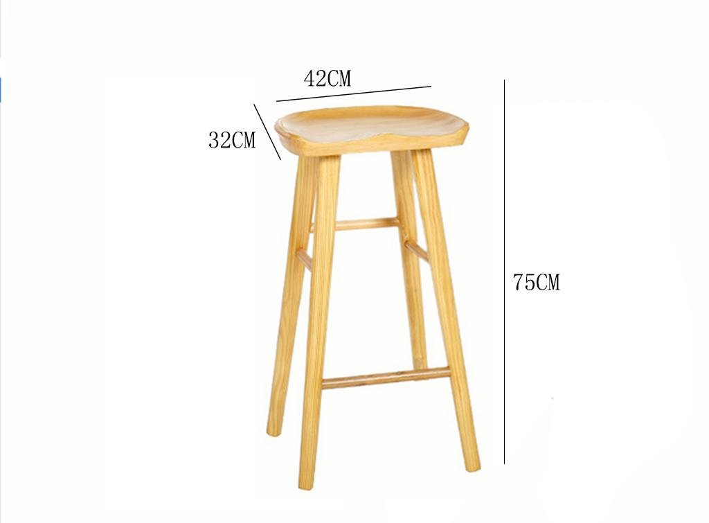 1 wood Wooden Bar Stools Kitchen Breakfast with Footrest 55cm 65cm 75cm Retro Kitchen Trapezoidal Pedal & Human Body Plane Design, 3, Coffee,Simple
