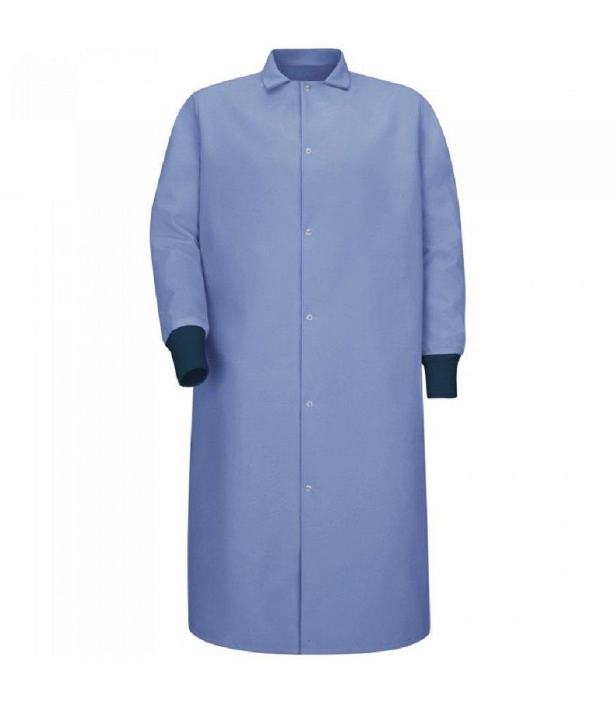 Red Kap Men's Gripper Front Spun Polyester Pocketless Butcher Coat With Knit Cuffs (M, Lt.Blue)