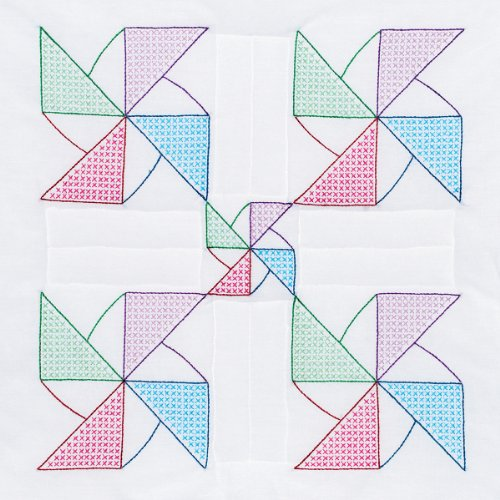 Jack Dempsey Needle Art 732545 Pinwheel 6-Quilt Block, 18-Inch by 18-Inch, - Art Block Quilt