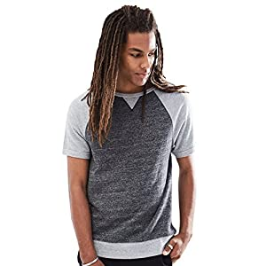 Rebel Canyon Young Men's Short Sleeve Sweatshirt Raglan Top Medium Black MARL