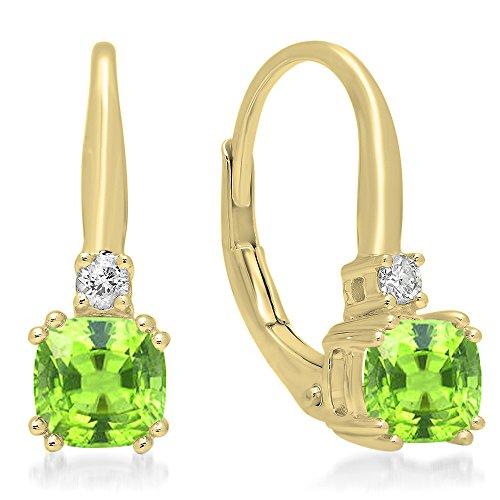 Dazzlingrock Collection 14K Cushion Cut Peridot & Round Cut White Diamond Ladies Dangling Drop Earrings, Yellow Gold