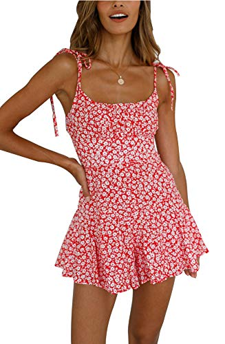 Women's Floral Print Pleated Spaghetti Strap Short Jumpsuit Cute Ruffled Summer Romper Playsuit (Small, Pink)
