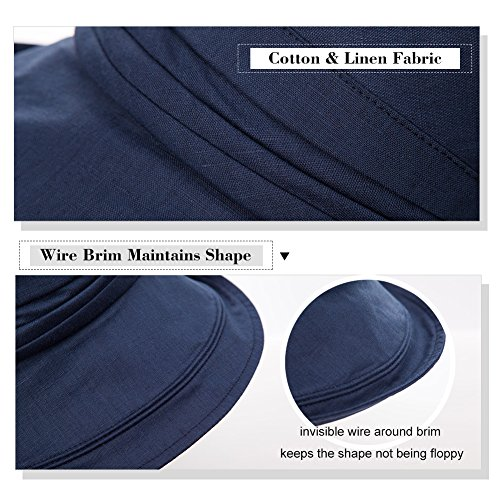 SIGGI Ladies UPF50+ Summer Sunhat Cotton Bucket Breathable Foldable Wide Brim Hats w/Chin Cord Beige by SIGGI (Image #4)