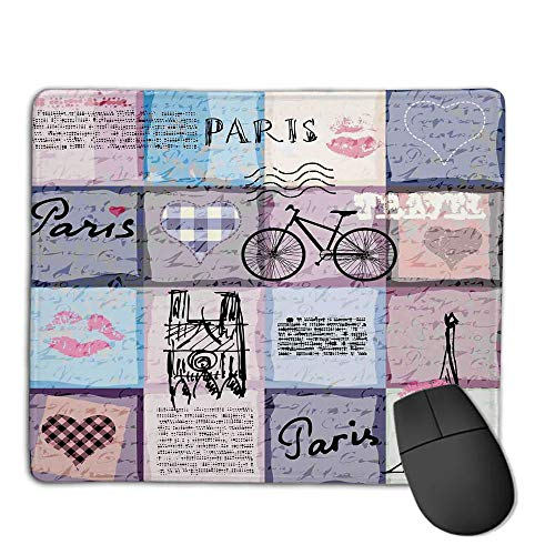 Comfortable Mouse Pad Quality Selection,Paris,Grunge Textured Retro Collage of Paris with Famous Object Eiffel Tower Europe Theme,Multicolor,Consoles More Enjoy Precise & Smooth Operating Experience