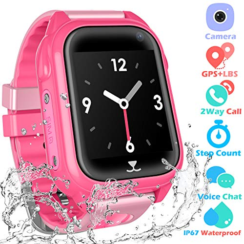 Kids Waterproof Smartwatch with GPS Tracker - GPS Fitness Tracker Watch for Children with Game Phone Voice Chat Alarm Clock Camera Flashlight Children Birthday Christmas (04 GPS Pink)