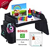 Kids Travel Play Tray for Car Seat | Activity Table for Stroller, Airplane, Road Trip | Waterproof Food & Snack Tray with Tablet Holder | Includes Bonus 30 Downloadable Fun Activities New Version