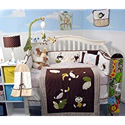 SoHo Monkey Business Baby Crib Nursery Bedding Set for boys 13 pcs included Diaper Bag with Changing Pad & Bottle Case