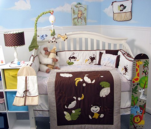 SoHo Playful Monkey (Brown) Baby Crib Nursery Bedding Set 13 pcs included Diaper Bag with Accessories ()