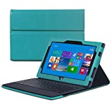 GreatShield® Microsoft Surface Pro / Surface Pro 2 Tablet [VANTAGE] PU Leather Case & Stand with Velcro Interior for Microsoft Surface Pro / Surface Pro 2 - (works with or without keyboard) - Cyan