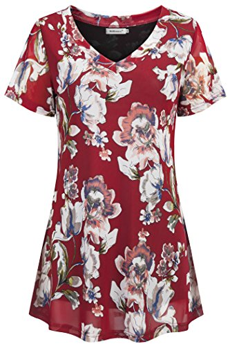 Helloacc T Shirt Dress,Womens Fashion Large Bust Blouse Summer Floral Tunic Tops Ladies Short Sleeve High Low Dressy Tee Go Out Shirts for Women Pintuck Tunics with Jeans Boutique Clothing Red L US16 from Helloacc