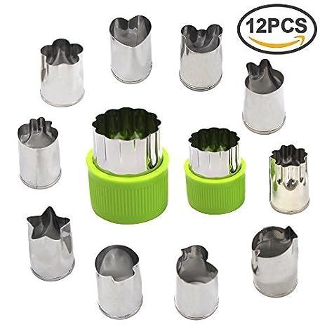 Cortador de verduras fruta formas set-stainless acero Mini cortadores de galletas, fruta molde para niños, Set de 12 (verde) por erlvery damain: Amazon.es: ...