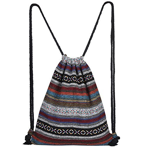 Farway Drawstring Bag Beach Vacation Bohemia Boho Style Gym Outdoor Backpack for girls Men & Women Travel Backpack