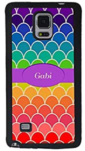 Rikki KnightTM Gabi Name on Rainbow Scallop Design Samsung? Galaxy Note 4 Case Cover (Black Rubber with front Bumper Protection) for Samsung Galaxy Note 4