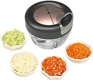 Tuuertge Manual Food Processor Manual Hand Food Blender Chopper Food Processor Dicer Mincer for Meat Mixer Salad Fruit Black Color Food Chopper (Color : Black, Size : 12.5x9cm)