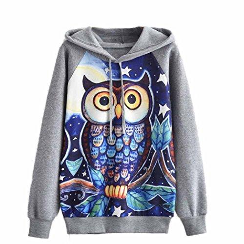 GBSELL Womens Girl Owl Long Sleeve Hoodie Sweatshirt Hooded Pullover Tops Blouse (M, Gray)
