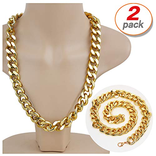 Yo-fobu 2 Pack Hip Hop Chain Necklace Rapper Gold Costume Necklace Jewelry Rapper Necklace, Long 22 inches, Wide 20mm -