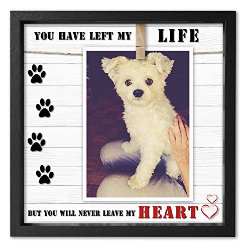 - Pet Memorial Picture Frame for Dog or Cat. Clever Design to fit 4x6 - 5x7. Loss of Dog or Cat Sympathy Photo Frame with Clip. Text