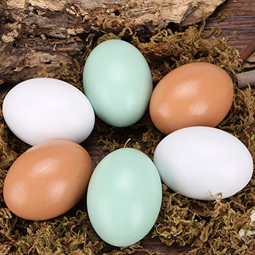 GREEN FABWOOD Wooden Fake Eggs-6Piece