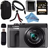 Panasonic Lumix DC-ZS70 DC-ZS70/S Digital Camera (Silver) + Sony 32GB SDHC Card + Small Carrying Case + Flexible Tripod + Micro HDMI Cable + Memory Card Wallet + Card Reader + Fibercloth Bundle
