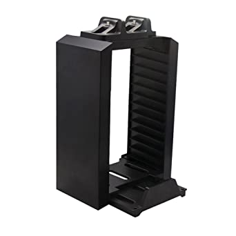 Vertical Stand With Dual Controllers Charging Station Games Storage Tower  For Sony PlayStation 4 PS4 Controller