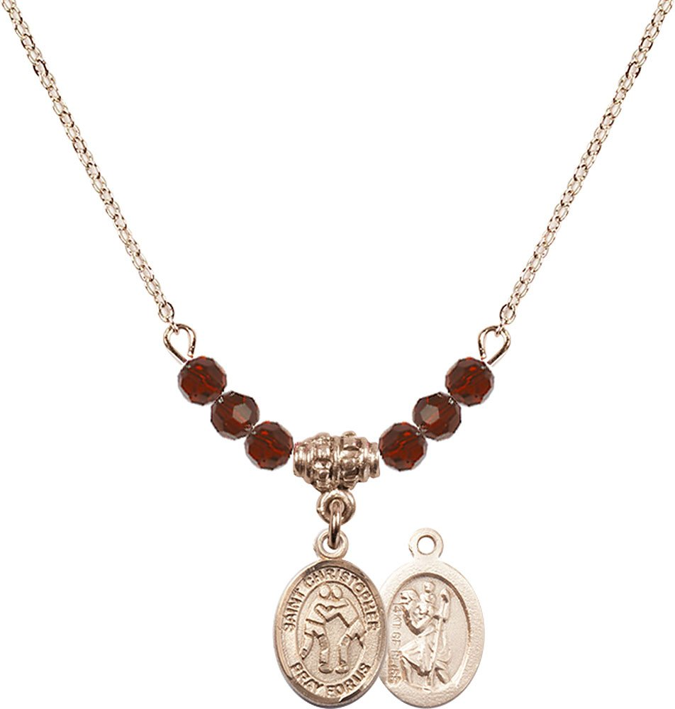 18-Inch Hamilton Gold Plated Necklace with 4mm Garnet Birthstone Beads and Gold Filled Saint Christopher/Wrestling Charm.