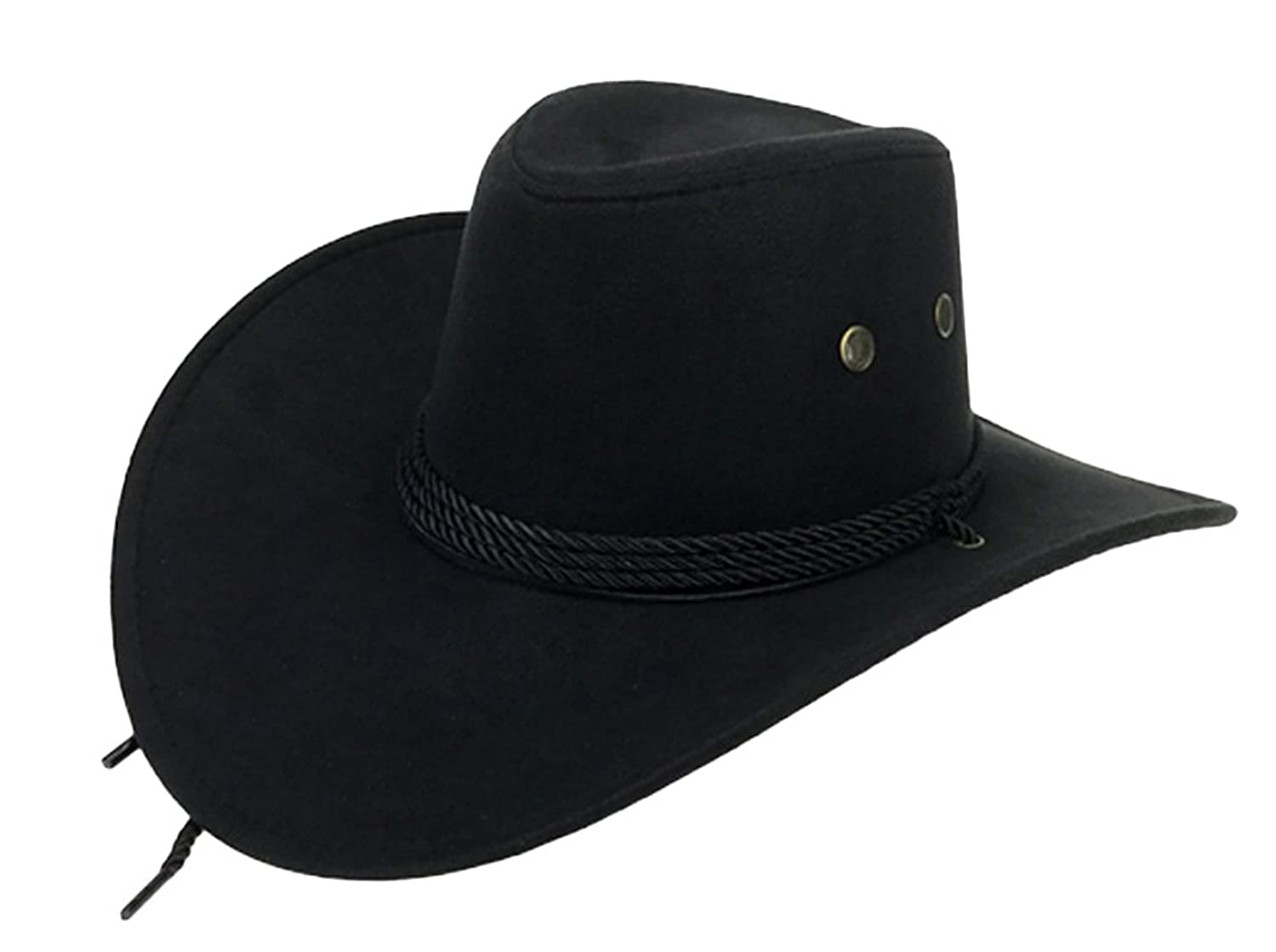 88791f24c6b Details about UwantC Mens Faux Felt Western Cowboy Hat Fedora Outdoor Wide  Brim with Strap