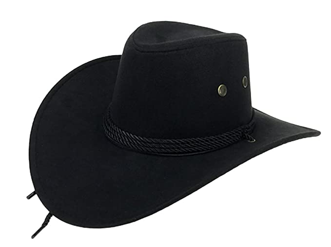 369ba285c6f82 UwantC Mens Faux Felt Western Cowboy Hat Fedora Outdoor Wide Brim Hat with  Strap Black