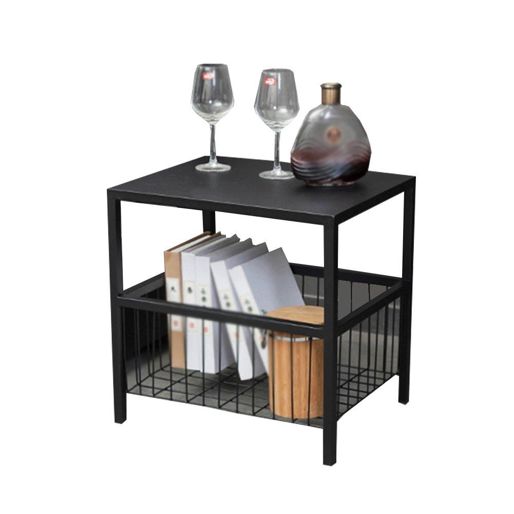 CSQ テーブル、コーヒーテーブル、サイドテーブル、収納バスケット、ソファサイドテーブルベッドサイドテーブルライティングデスクドレッシングテーブルダイニングテーブルアイロン材料サイドテーブル40 * 50 * 50CM コー\u200b\u200bヒーテーブル (色 : ブラック) B07DWVLKGF ブラック ブラック