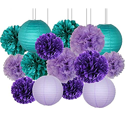 Furuix Mermaid Party Decorations/Under The Sea Party 16pcs Teal Lavender  Purple 10inch 8inch Tissue Paper Pom Pom Paper Lanterns For Birthday Decor  Baby ...
