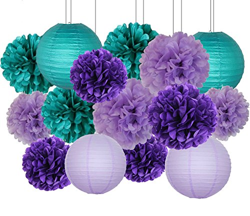 Furuix Mermaid Party Decorations /Under the Sea Party 16pcs Teal Lavender Purple 10inch 8inch Tissue Paper Pom Pom Paper Lanterns for Birthday Decor Baby Shower (Mermaids Party Supplies)