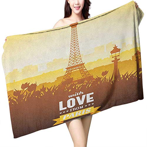 homecoco Popular Bath Towels Paris Eiffel Tower with Tulip and City Silhouette Nostalgic Town Floral Romantic W20 xL39 Suitable for bathrooms, Beaches, -