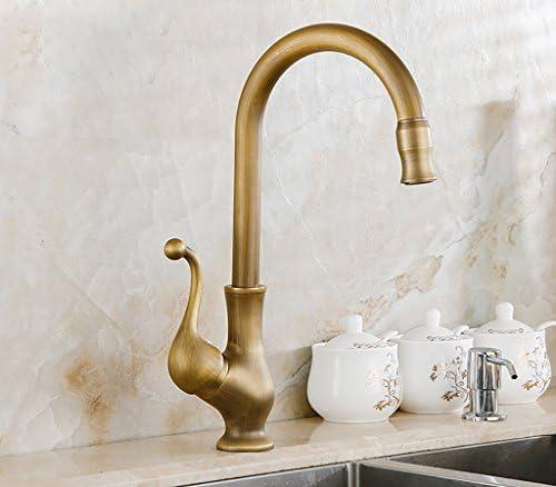 洗面器の蛇口、真鍮のホットとコールドシングルハンドルモノブロックの蛇口、ヨーロッパのレトロクラシックタップ、バスルームの回転シンクの蛇口 洗面器の蛇口