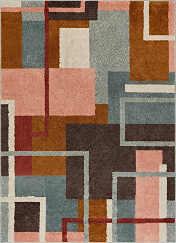 """Well Woven Morningside Geometric Multi Blue Area Rug 5x7 (5'3"""" x 7'3"""") Soft Plush Modern Abstract Boxes Lines Carpet"""