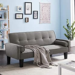 Living Room Recaceik Modern Futon Sofa Bed Convertible Love Seat Couch Linen Fabric Sleeper Sofas with 2 Pillows Furniture for Small… modern sofas and couches