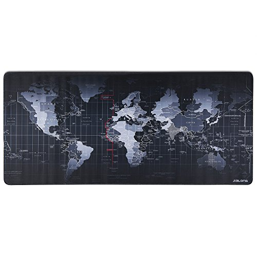 "Eligoo XL Gaming Mouse Pad Keyboard and Mouse Desk Mat Soft Slim 2mm Thickness with Stitched Edges | 31.5""x15.7""x0.08"" (World Map)"