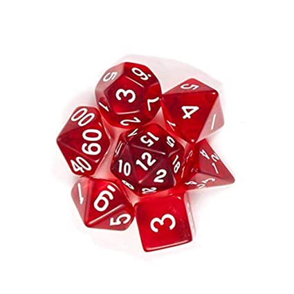 SaiDeng 7pcs Dice Set Translucent Polyhedral Craps Set for Dungeons Dragons Pathfinder D&D RPG (D4 D6 D8 D10 D12 D20 D%) Red