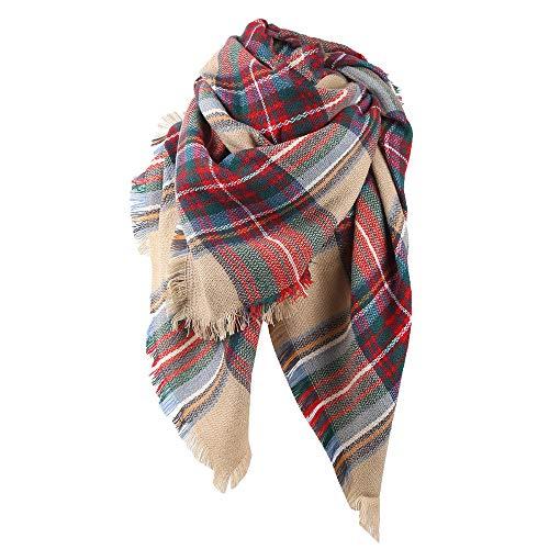 Pumsun Women Winter Warm Colored Grid Shawl Collar Ladies Long Printing Plaid Scarf (F)