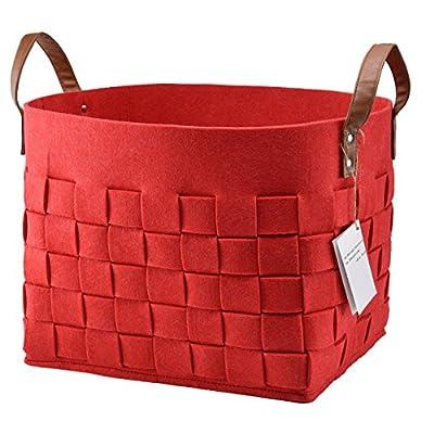 Felt Rope Storage Baskets With Handles Soft Durable Toy Storage Nursery Bins Home Decorations