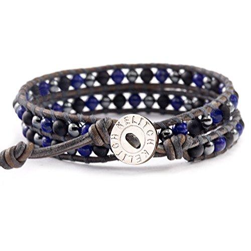 KELITCH Double Wrap Bracelet Braided Synthetic-Lapis-Lazuli Beads Bracelets on Gray Leather (Bracelet Lapis Turquoise)