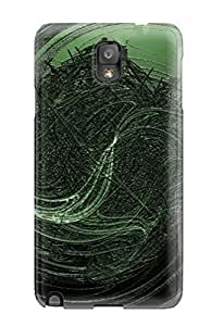 High Grade DeirdreAmaya Flexible pc Case For Galaxy Note 3 - Green Paint Swirl